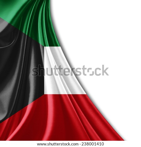 Kuwait flag and white background - stock photo