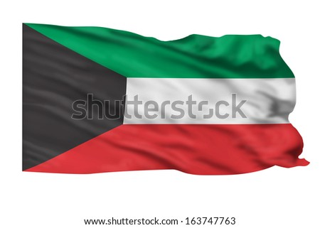 Kuwait flag flying high in the wind.