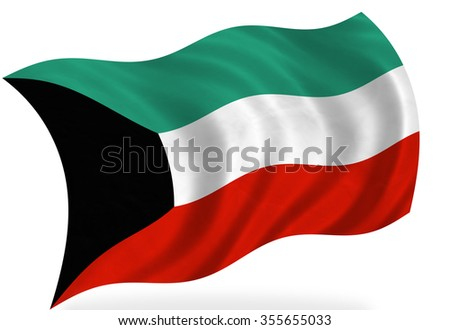 kuwait flag, isolated