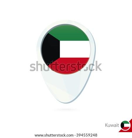 Kuwait flag location map pin icon on white background. Raster copy, - stock photo