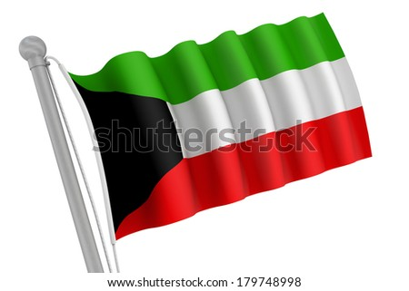 Kuwait flag on pole waving in the wind