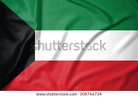 Kuwait flag on soft and smooth silk texture - stock photo