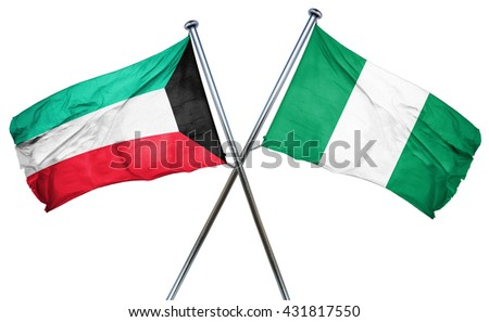 Kuwait flag with Nigeria flag, 3D rendering