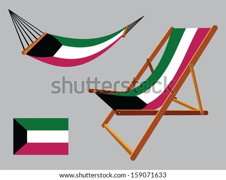 kuwait hammock and deck chair set against gray background, abstract art illustration