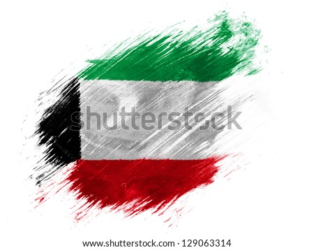 Kuwait. Kuwaiti flag  painted with brush on white background - stock photo
