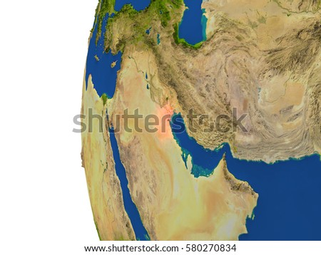 Kuwait on planet Earth. 3D illustration with detailed realistic planet surface. Elements of this image furnished by NASA.