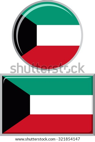 Kuwait round and square icon flag. Raster version.