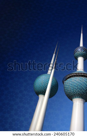 Kuwait Towers Blank Card Background - stock photo