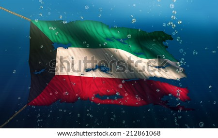 Kuwait Under Water Sea Flag National Torn Bubble 3D - stock photo