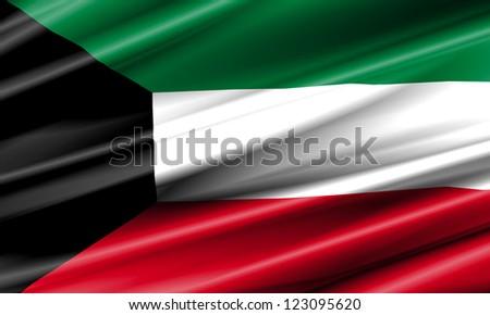 Kuwait Waving Flag - stock photo
