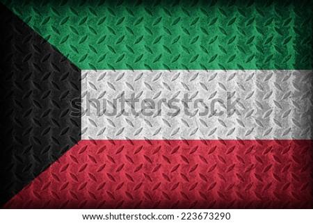 Kuwaitl flag pattern on the diamond metal plate texture ,vintage style - stock photo