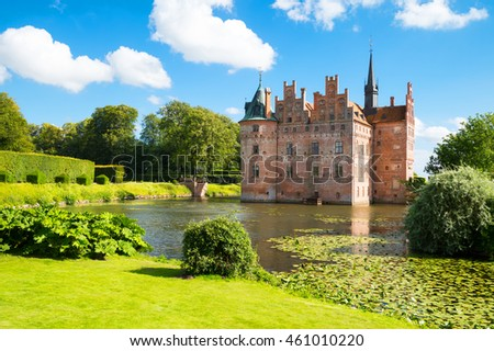Kvaerndrup, Denmark - July 21, 2015: Panoramic view of the Egeskov castle