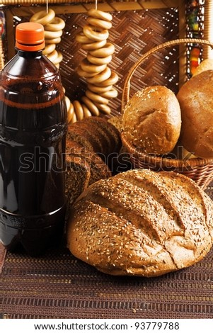 Kvass and grain products as natural food background