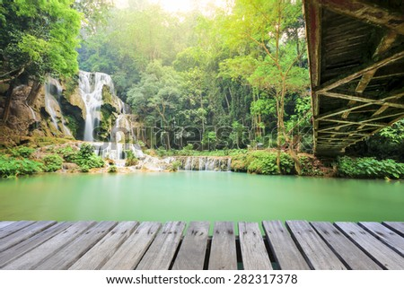 Kwang see water fall, Laos - stock photo