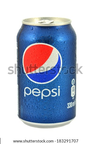 KWIDZYN, POLAND - MARCH 14, 2014: Can of Pepsi drink isolated on white.  Pepsi is carbonated soft drink produced by PepsiCo. Pepsi  was created and developed in 1893