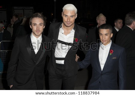 Kye Sones, Rylan Clarke and Jahmene Douglas arriving for the Cosmopolitan Ultimate Women of the Year Awards , Victoria & Albert Museum, London. 30/10/2012 Picture by: Simon Burchell - stock photo