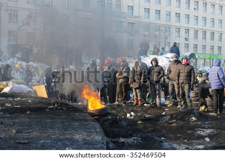 Kyev, Ukraine - Feb 9: During a rally in the city center , on Feb 9, 2014 in Kyev, Ukraine