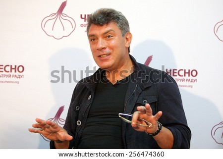 KYIV - 04 SEPTEMBER: Opposition leader, former first deputy prime minister Boris Nemtsov, during the presentation of brochures about Putin's riches on September 04, 2012 in Kyiv, Ukraine. - stock photo