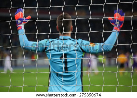KYIV, UKRAINE - APRIL 16, 2015: Norberto Murara Neto of Fiorentina during their UEFA Europe League game with Dynamo Kyiv at NSC Olimpiyskiy stadium on April 16, 2015 in Kyiv, Ukraine. - stock photo