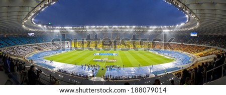 KYIV, UKRAINE - APRIL 16, 2014: Panoramic view of Olympic stadium (NSC Olimpiysky) during Ukraine Championship game between FC Dynamo Kyiv and FC Shakhtar Donetsk - stock photo