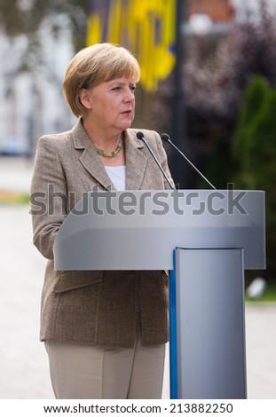 KYIV, UKRAINE - 23 AUG 2014: Federal Chancellor of Germany Angela Merkel during a working visit to Ukraine. August 23, 2014 in Kyiv, Ukraine - stock photo