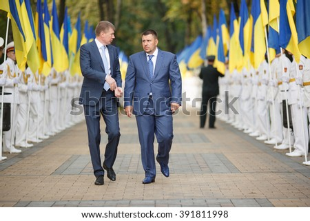 KYIV, UKRAINE - AUG. 24, 2013: Independence Day of Ukraine. Ukrainian politician Oleksandr Klymenko (Klimenko)