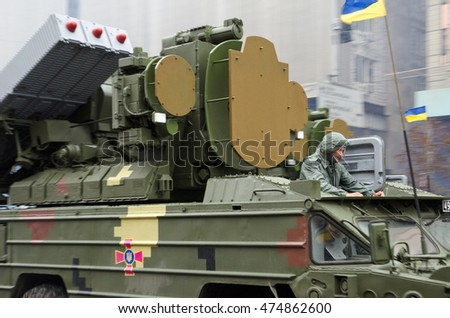 KYIV, UKRAINE - AUGUST 24 2016: A military hardware 9K33 Osa SAMS take part in the parade at the Independence Day in the Ukrainian capital KYIV, UKRAINE - AUGUST 24 2016.