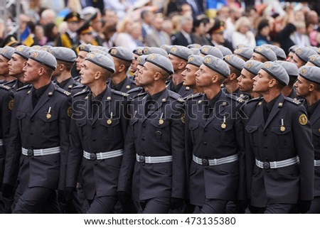 KYIV, UKRAINE - AUGUST 24, 2016: A Ukrainian Armed Forces military unit marches at  Independence Square. Ukrainians mark the 25th anniversary of Ukraine's independence from the Soviet Union in 1991.