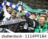 KYIV, UKRAINE - AUGUST 29: Borussia Monchengladbach team supporters show their support during UEFA Champions League play-off game against FC Dynamo Kiev on August 29, 2012 in Kyiv, Ukraine - stock photo