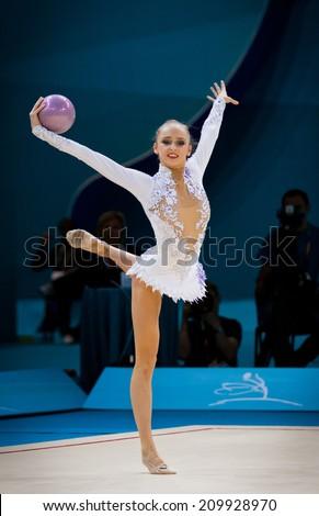 KYIV, UKRAINE - AUGUST 30, 2013: Marina Durunda of Azerbaijan performs during 32nd Rhythmic Gymnastics World Championship (Individual All-�Around competition) - stock photo