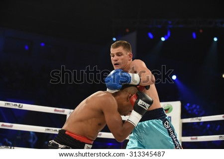 Kyiv, UKRAINE - August 29, 2015 : Ranking fight between Denis Berinchyk (Ukraine) and Belgian  Tarik Madni in the Palace of sport in Kiev, Ukraine
