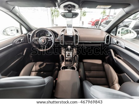 Kyiv, Ukraine - August 7th, 2016: Porsche Cayenne in show room