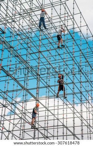 KYIV, UKRAINE 18 AUGUST 2015: workers erect the stage on Area of Independence. A country prepares to the day of Independence on Augusts, 24.