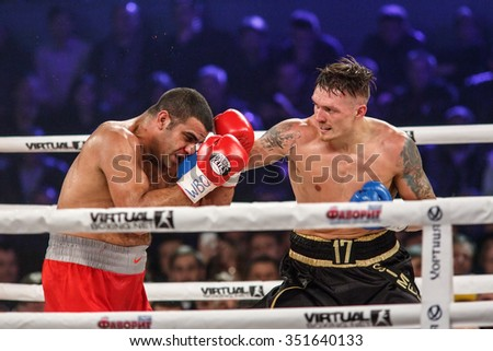 KYIV, UKRAINE - DECEMBER 12, 2015: Box Fight for WBO Inter-Continental cruiserweight champion title between Oleksandr Usyk (Ukraine) and Pedro Rodriguez (USA)