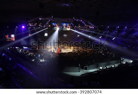 "KYIV, UKRAINE - DECEMBER 13, 2014: Panoramic view of interior of Palace of Sports in Kyiv during ""Evening of Boxing"""