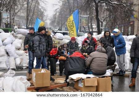 KYIV, UKRAINE - DECEMBER 12: Ukrainian people demand the resignation of the government and early voting on the Maidan Nezalezhnosti on December 12, 2013 in Kyiv, Ukraine