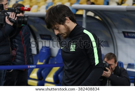 KYIV, UKRAINE - FEBRUARY 23, 2016: David Silva of FC Manchester City goes to training session at NSC Olimpiyskyi stadium before UEFA Champions League game against FC Dynamo Kyiv