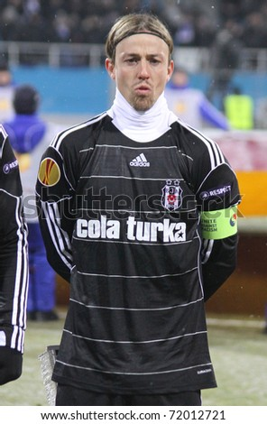 KYIV, UKRAINE - FEBRUARY 24: Jose Maria Gutierrez Hernandez (Guti) of Besiktas looks on before UEFA Europa League game against FC Dynamo Kyiv on February 24, 2011 in Kyiv, Ukraine