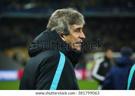 KYIV, UKRAINE - FEBRUARY 24, 2016: Manuel Pellegrini the Head Coach of Manchester City FC after their UEFA Championes League game with Dynamo Kyiv at NSC Olimpiyskiy stadium.