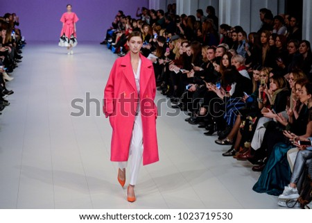 KYIV, UKRAINE - FEBRUARY 4, 2018: Model presents a creation by designer Larisa Lobanova during Fashion Show as part of Ukrainian Fashion Week FW18-19 at Mystetskyi Arsenal in Kyiv, Ukraine