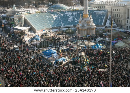 Kyiv, Ukraine - 02 February 2014: Ukrainians gather on the Independence Square during the continuing protest in Kyiv