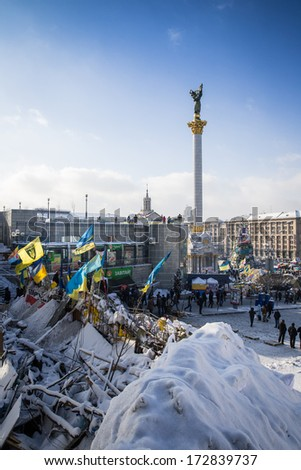 KYIV, UKRAINE - JAN 23: Euromaidan square during anti-government protest on January 23, 2014, in center of Kiev, Ukraine
