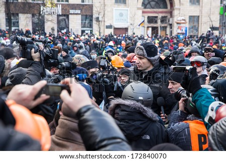 KYIV, UKRAINE - JAN 23: Vitaliy Klitchko on the occupying street on the demostration during anti-government protest Euromaidan on January 23, 2014, in center of Kiev, Ukraine - stock photo