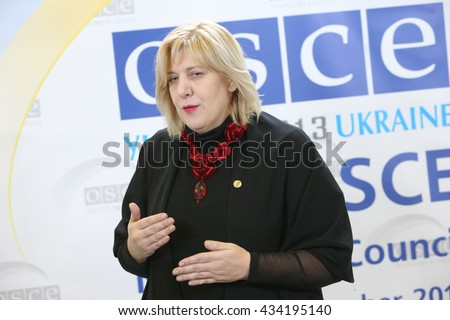 KYIV, UKRAINE - 21 JUL 2014: OSCE Representative on Freedom of the Media Dunja Mijatovic talks to reporters after the press conference. Jily 21, 2014 in Kyiv, Ukraine. - stock photo