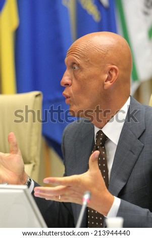 KYIV, UKRAINE - 11 JUL 2011: Pierluigi Collina UEFA Head of Referees during a press conference of the Football Federation of Ukraine. July 11, 2011 in Kyiv, Ukraine