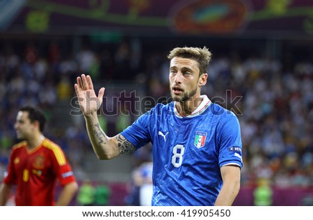 KYIV, UKRAINE - JULY 1, 2012: Claudio Marchisio of Italy in action during UEFA EURO 2012 Final game against Spain at Olympic stadium in Kyiv, Ukraine