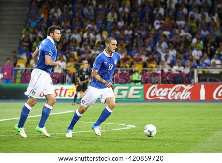 KYIV, UKRAINE - JULY 1, 2012: Leonardo Bonucci of Italy (#19) controls a ball during UEFA EURO 2012 Final game against Spain at Olympic stadium in Kyiv, Ukraine - stock photo