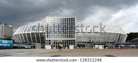 KYIV, UKRAINE - JULY 11: National Olympic stadium in Kyiv (NSC Olimpiys'kyi), the main Euro-2012 final game stadium, after championship on July 11th, 2012 in Kyiv, Ukraine - stock photo