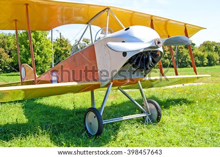 KYIV, UKRAINE - JULY 29, 2006: Old biplane is exhibited at Zhuliany State Aviation Museum in Kyiv, Ukraine