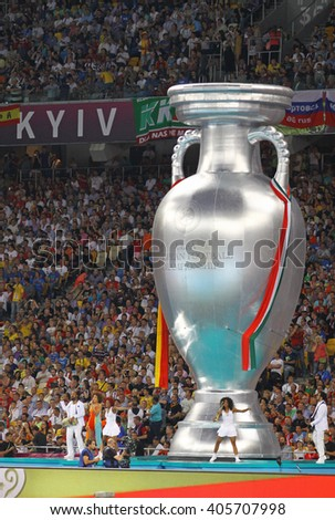KYIV, UKRAINE - JULY 1, 2012: Performance by singer Oceana Mahlmann before the UEFA EURO 2012 Final game between Italy and Spain at Olympic stadium in Kyiv, Ukraine - stock photo